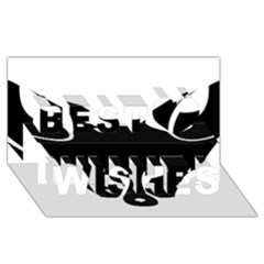 Black Fox Logo Best Wish 3D Greeting Card (8x4)