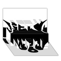 Black Fox Logo Get Well 3d Greeting Card (7x5)