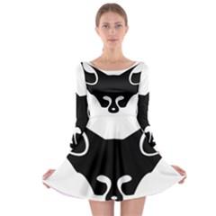 Black Fox Logo Long Sleeve Skater Dress