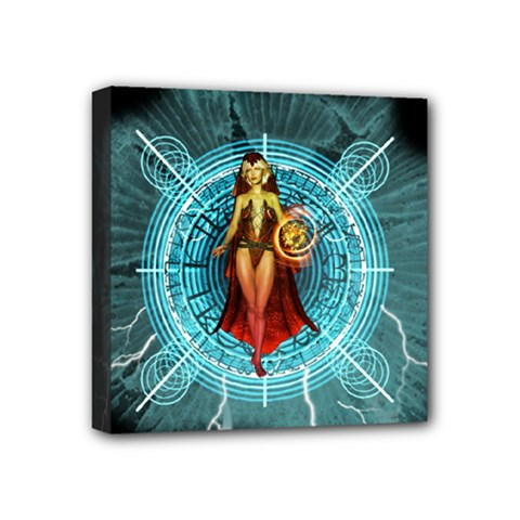 Beautiful Witch With Magical Background Mini Canvas 4  x 4