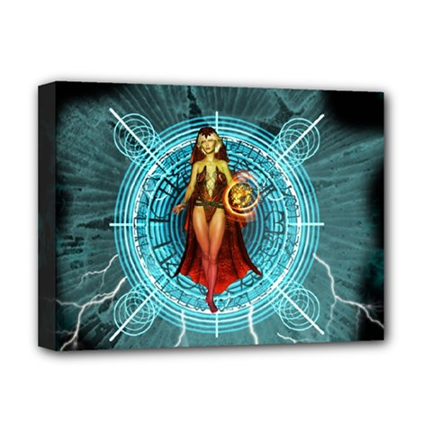 Beautiful Witch With Magical Background Deluxe Canvas 16  x 12
