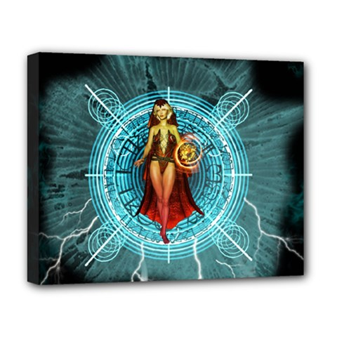 Beautiful Witch With Magical Background Deluxe Canvas 20  x 16