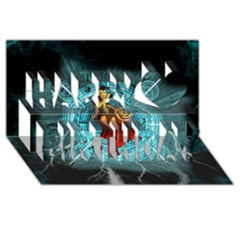 Beautiful Witch With Magical Background Happy Birthday 3d Greeting Card (8x4)