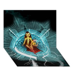 Beautiful Witch With Magical Background Heart Bottom 3d Greeting Card (7x5)