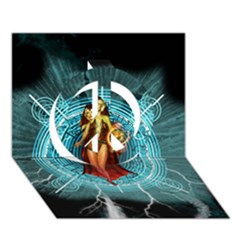 Beautiful Witch With Magical Background Peace Sign 3D Greeting Card (7x5)
