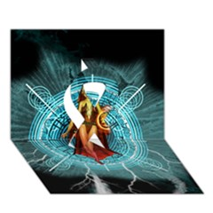 Beautiful Witch With Magical Background Ribbon 3D Greeting Card (7x5)
