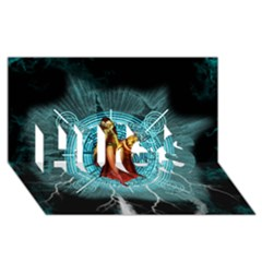 Beautiful Witch With Magical Background HUGS 3D Greeting Card (8x4)