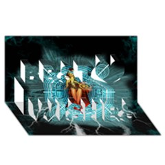 Beautiful Witch With Magical Background Best Wish 3D Greeting Card (8x4)