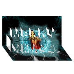 Beautiful Witch With Magical Background Merry Xmas 3D Greeting Card (8x4)