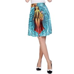 Beautiful Witch With Magical Background A-Line Skirts