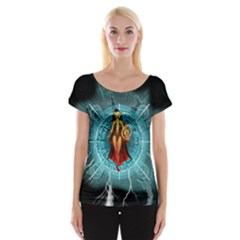 Beautiful Witch With Magical Background Women s Cap Sleeve Top