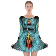 Beautiful Witch With Magical Background Long Sleeve Skater Dress