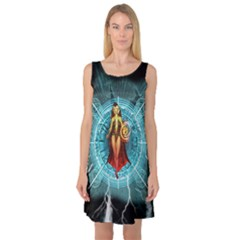 Beautiful Witch With Magical Background Sleeveless Satin Nightdresses