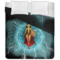 Beautiful Witch With Magical Background Duvet Cover (double Size)
