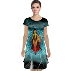 Beautiful Witch With Magical Background Cap Sleeve Nightdresses