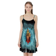 Beautiful Witch With Magical Background Satin Night Slip