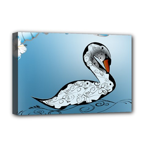 Wonderful Swan Made Of Floral Elements Deluxe Canvas 18  x 12