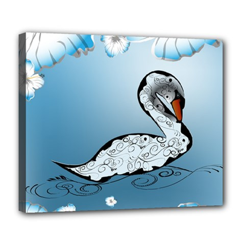 Wonderful Swan Made Of Floral Elements Deluxe Canvas 24  x 20