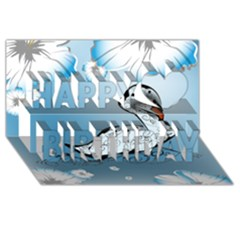 Wonderful Swan Made Of Floral Elements Happy Birthday 3d Greeting Card (8x4)