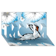 Wonderful Swan Made Of Floral Elements Mom 3d Greeting Card (8x4)