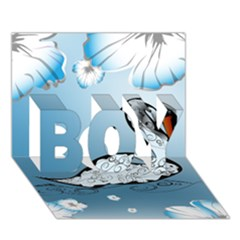 Wonderful Swan Made Of Floral Elements BOY 3D Greeting Card (7x5)