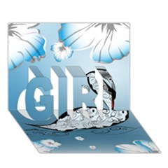 Wonderful Swan Made Of Floral Elements GIRL 3D Greeting Card (7x5)