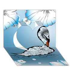 Wonderful Swan Made Of Floral Elements Heart 3D Greeting Card (7x5)