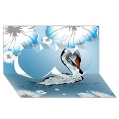 Wonderful Swan Made Of Floral Elements Twin Hearts 3d Greeting Card (8x4)