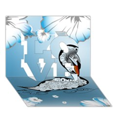 Wonderful Swan Made Of Floral Elements LOVE 3D Greeting Card (7x5)