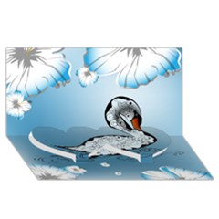 Wonderful Swan Made Of Floral Elements Twin Heart Bottom 3D Greeting Card (8x4)