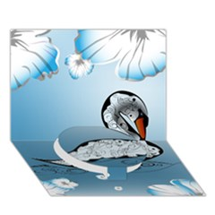 Wonderful Swan Made Of Floral Elements Circle Bottom 3D Greeting Card (7x5)