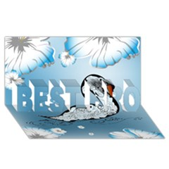 Wonderful Swan Made Of Floral Elements BEST BRO 3D Greeting Card (8x4)