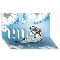 Wonderful Swan Made Of Floral Elements HUGS 3D Greeting Card (8x4)