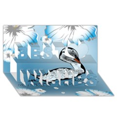 Wonderful Swan Made Of Floral Elements Best Wish 3d Greeting Card (8x4)