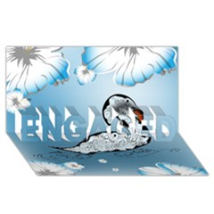 Wonderful Swan Made Of Floral Elements ENGAGED 3D Greeting Card (8x4)