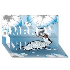 Wonderful Swan Made Of Floral Elements Merry Xmas 3D Greeting Card (8x4)