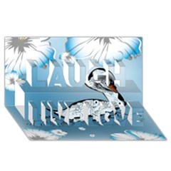 Wonderful Swan Made Of Floral Elements Laugh Live Love 3d Greeting Card (8x4)