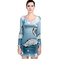 Wonderful Swan Made Of Floral Elements Long Sleeve Bodycon Dresses