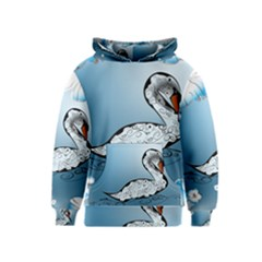 Wonderful Swan Made Of Floral Elements Kid s Pullover Hoodies