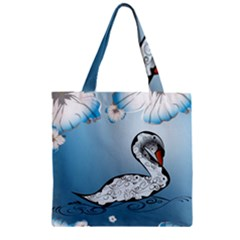 Wonderful Swan Made Of Floral Elements Zipper Grocery Tote Bags