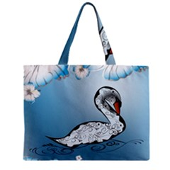 Wonderful Swan Made Of Floral Elements Zipper Tiny Tote Bags