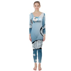 Wonderful Swan Made Of Floral Elements Long Sleeve Catsuit