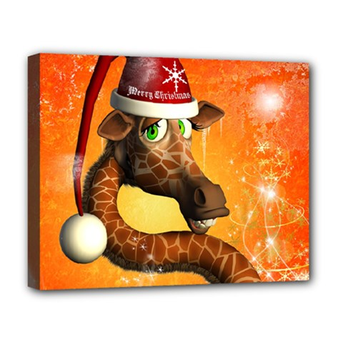 Funny Cute Christmas Giraffe With Christmas Hat Deluxe Canvas 20  x 16