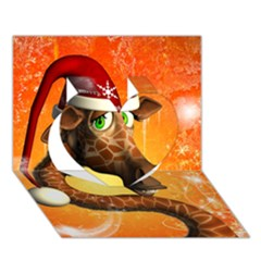 Funny Cute Christmas Giraffe With Christmas Hat Heart 3d Greeting Card (7x5)