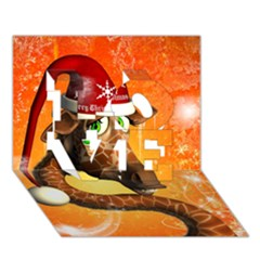 Funny Cute Christmas Giraffe With Christmas Hat LOVE 3D Greeting Card (7x5)