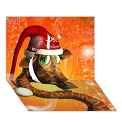 Funny Cute Christmas Giraffe With Christmas Hat Apple 3d Greeting Card (7x5)