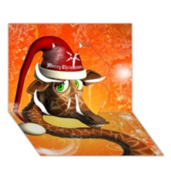 Funny Cute Christmas Giraffe With Christmas Hat Clover 3d Greeting Card (7x5)
