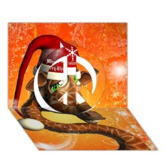 Funny Cute Christmas Giraffe With Christmas Hat Peace Sign 3D Greeting Card (7x5)
