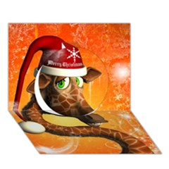 Funny Cute Christmas Giraffe With Christmas Hat Circle 3D Greeting Card (7x5)