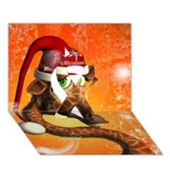 Funny Cute Christmas Giraffe With Christmas Hat Ribbon 3d Greeting Card (7x5)